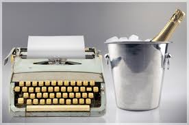 typewriter and champagne